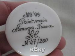 1999 PEINT MAIN LIMOGES FRANCE LMT ED 47/200 STRAW HAT TRINKET BOX w HAT INSIDE