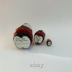 3 Nesting Santa Claus Dolls Limoges Trinket Box Peint Main France