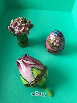 3 limoges Hand Panited Flowers Trinket Box