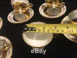 6x LIMOGES FRANCE REHAUSSE CHOCOLATE CUPS AND SAUCERS