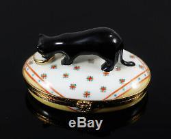 ARTORIA- signed Limoges France Vintage Porcelain Trinket Box -Black Cat