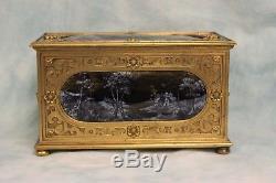 Antique Bronze Renaissance Limoges Enamel Box in 1500's Style c. 1850 5 Plaques