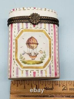Antique Early French Limoges Pill Trinket Box Vesta Case Hot Air Balloon