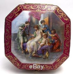 Antique French Limoges Hand Painted Porcelain Trinket/Jewelry Box/Dresser Signed