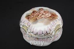 Antique French Limoges Paris White Porcelain Trinket Jewelry Box Putti Angels