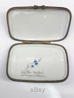 Antique French Limoges Trinket Box Blue Hot Air Balloon Scenic