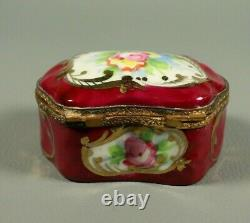 Antique French Porcelain Hand Painted Limoges Trinket Box Jewelry Lidded Brass