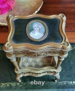 Antique French Portrait Jewelry Box Casket Trinket Ormolu Gilt Rare Victorian
