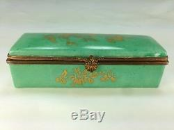 Antique Hinged Porcelain Stamp Box Limoges France Hand Painted Floral