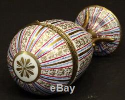 Antique LIMOGES Porcelain HAND PAINTED GOLD Hinged Lid EGG Shaped TRINKET BOX