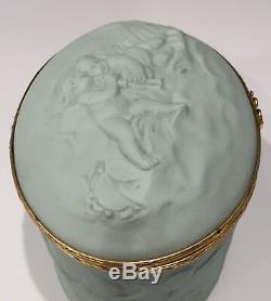 Antique Large Chamart Limoges France Aqua Trinket Jewelry Box