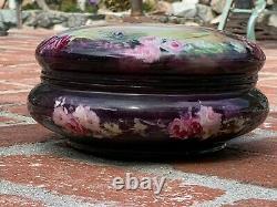 Antique Limoges France LG Powder Trinket Box flowers purple T&V Tressemann&Vogt