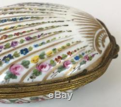 Antique Limoges France Porcelain HandPainted Ormolu Coquillage Shell Trinket Box