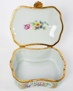 Antique Limoges France Porcelain Turquoise & Gold Museum Roses Trinket Box 6.5