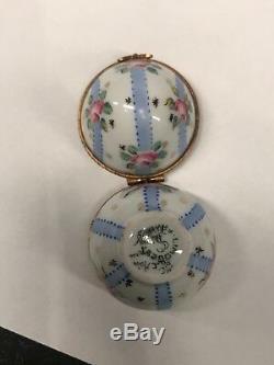 Antique Limoges French Peint Main Porcelain Trinket Box Egg Floral with Ribbons