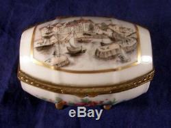 Antique Limoges for Ovington Bros Hand Decorated Marseilles Port Trinket Box