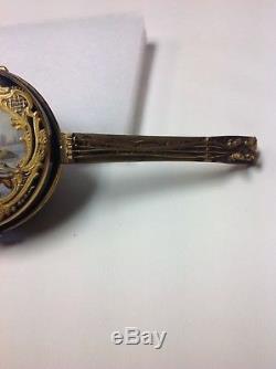 Antique Porcelain Box. Figural Mandolin Musical Instrument. Hand-painted France