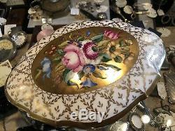 Antique Porcelain Hand Painted Gilt Limoges Dresser Trinket Box