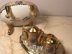 Antique TEA SET Limoges Trinket Box PEINT MAIN RARE VINTAGE