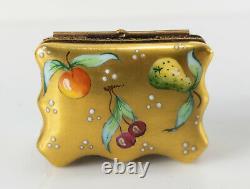 Antique Vintage Limoges Porcelain Gilt Trinket Ring Box Fruit Peint Main
