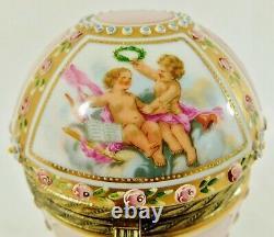 Antique/Vtg LIMOGES Hand Painted PUTTI CHERUB Porcelain Brass Egg Trinket Box