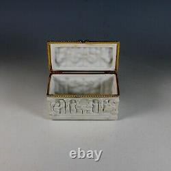 Antique White High Relief Porcelain Limoges French Brass Hinged Trinket Box