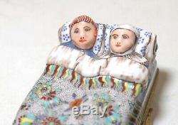 Antique handmade porcelain Limoges French couple in bed brass hinge trinket box