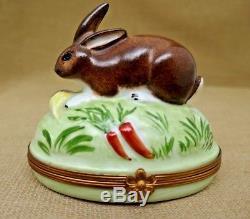 Artoria Limoges France Rabbit Bunny Trinket Box Peint Main Signed