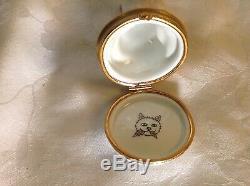 Artoria Limoges France peint main porcelain angel cat trinket box