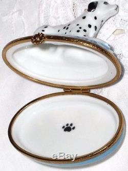 Artoria Limoges Hand Painted Dalmatian Dog Lying on Blue Trinket Box