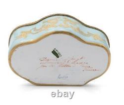 Atelier Camille Le Tallec Limoges Porcelain Hand Painted Trinket Box Turquoise