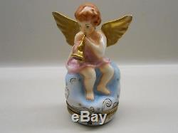 Authentic Limoges Box France Peint Main Rochard Cherub/Angel withTrumpet