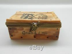 Authentic Limoges Box France Peint Main Rochard Wine Crate with Bottles of Wine