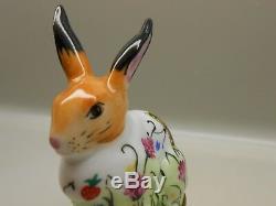 Authentic Limoges Box Peint Main France Chamart Rabbit with Floral Designs