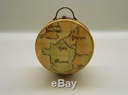 Authentic Limoges Box Peint Main France Rochard Round Travel Suitcase with Maps