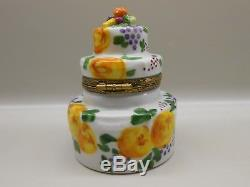 Authentic Limoges Box Peint Main France Rochard Three-Tiered Cake with Fruit