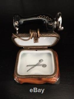 Authentic Limoges Old Fashioned Sewing Machine with Thread Clasp