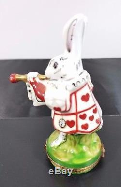 Authentic Limoges Rochard Porcelain Hand Painted White Rabbit France Peint Main