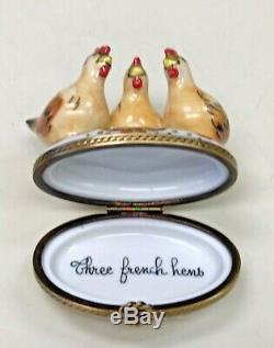 Authentic Limoges Three French Hens Trinket Box France Peint Main Christmas