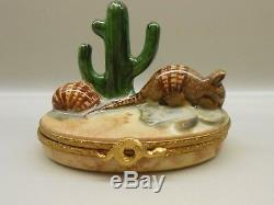 Authentic Limoges Trinket Box France Artoria Armadillos & Cactus #'d Edition