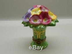 Authentic Limoges Trinket Box France Chamart Peony Flower Bouquet Excellent