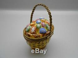 Authentic Limoges Trinket Box France Rochard Colorful Easter Egg Basket