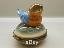 Authentic Limoges Trinket Box France Rochard Mama Blue Bird Floral on Nest