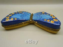 Authentic Vintage Limoges Box Peint Main France PV Double-Sided Blue Butterfly