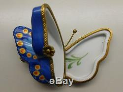 Authentic Vintage RETIRED Limoges Trinket Box PV Double-Sided Blue Butterfly