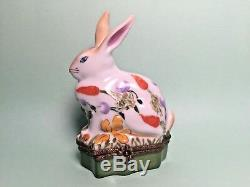 BUNNY RABBIT Limoges Trinket Box Chamart Peint Main France Vintage