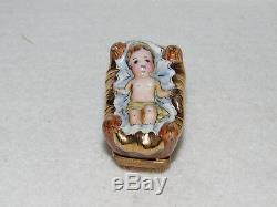 Baby Jesus Limoges France L N D Nativity Trinket Box Peint A La Main Mint