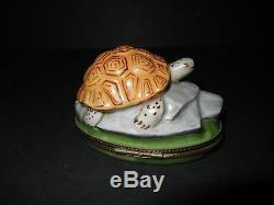 Beautiful Large J. Dumont Limoges France Peint Main Turtle Trinket Box