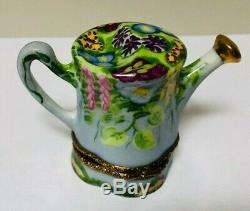 Beautiful Limoges France Watering Can Trinket Box