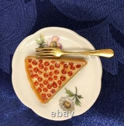 Beautiful Limoges Paint Mein Slice of Pie on a Plate Trinket Box